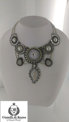 Embroidery necklace by GIOIELLIDIROMA on Etsy