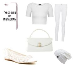 """""""White"""" by emilyrocks1234566 ❤ liked on Polyvore featuring Frame Denim, Topshop, Soludos, Judith Leiber and Missguided"""