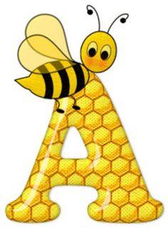 Alphabet letters bee on honeycomb. Alphabet Letters Design, Alphabet And Numbers, Fancy Letters, Bee Crafts, Diy And Crafts, Scrapbook Letters, Bee Happy, Creations, Monogram