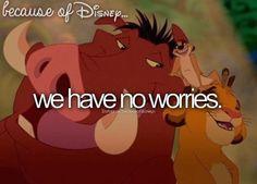 "Because of Disney ""We have no worries ..."" FROM: http://media-cache-ak0.pinimg.com/originals/39/0b/ad/390bad3227268c49caec6a0486056fd4.jpg"
