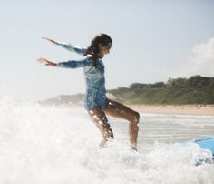 pure j o y at sea    the girl squad from Sports Illustrated Swim showing off their major surf skills at Billabong's 'Learn to Surf' Day