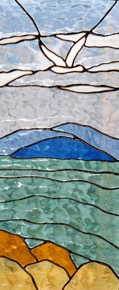 Custom Made Ocean And Seagull Stained Glass Window