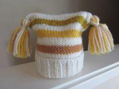Striped Knit Wool Hat Fold Up Brim Tassels Varied by TooCozy