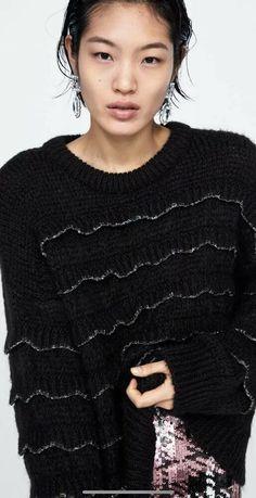 ae5d7d87 Bnwt Zara Knit Sweater Jumper Black With Ruffles Size M Bloggers Fave | eBay