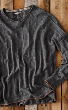 Boxwood Sweater: Woodsy, earth-toned yarns create an intriguing pattern of geometric stitches. This is an easy to wear, super soft rolled knit that has subtle but equally cool contrasting edge trim. A great guy's sweater for Spring.