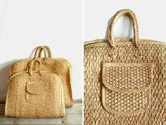 Vintage Raffia woven straw rattan beach bag xl by pieceshop, $28.00