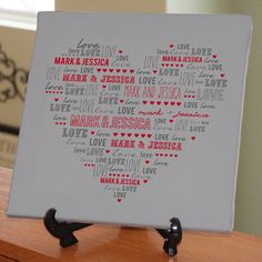 """Personalized """"Couples Heart"""" 10"""" x 10"""" Canvas - 4 Color Designs to Choose From"""