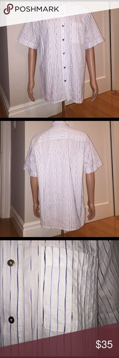 Territory Ahead Button Down Short Sleeve Shirt Territory Ahead Button Down Short Sleeve shirt. White with both light and dark blue strips. Size L but does run a little big. Worn once. All questions welcome. territory ahead Shirts Casual Button Down Shirts