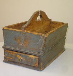 "SHAKER KNIFE BOX WITH DRAWER. Attributed to the Whitewater settlement, 15""l. 9 1/2""d. 10 3/4""h."