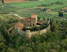 Montegualandro Castle, Umbria, Italy. The walls date from the second half of the thirteen-hundreds. The first written record of the fortress' existence dates to the year 917, confirming ownership by the Marquis Uguccione II. Later, Montegualandro was conquered by Frederick I Barbarossa, who turned it over to the Marquis Ranieri. Destroyed and taken by the Perugians in the mid-thirteenth century, the castle formed, from 1261 to 1476, part of the Montemelini estate.