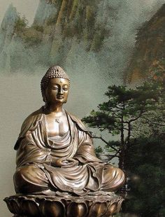 "Buddhayana - the path of Buddha ""Do not follow the ideas of others, but learn to listen to voice within yourself."" ~Zen Master Dogen~ statue of buddha in forest   Spread by www.fairtrademarket.com supporting #fairtrade and #novica"