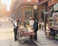 Clam Seller on Mulberry Bend (Little Italy) New York, ca. 1900 colorized by redditor MyGrapefruit.