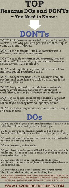 This includes a detailed list of suggestions of specific ways to improve your resume. In addition to this, it provides things to avoid.