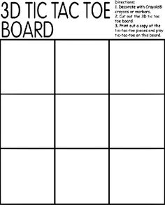 3d tic tac toe board coloring page learning letters by substituting x and o