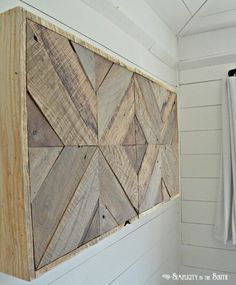 DIY Reclaimed Wood Sliding TV Cover: Now You See It. Now You Don't Learn how to hide the TV with a DIY reclaimed pallet wood sliding television cover. What looks like wood art in the living room opens to reveal a TV! Wood Wood, Reclaimed Wood Furniture, Diy Furniture, Wood Walls, Salvaged Wood, Barn Wood, Repurposed Wood, Painted Wood, Furniture Projects