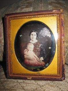 Antique American Beauty Daguerreotype RARE Smiling Mother Teeth Angel Baby Photo…