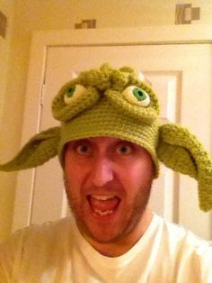 Crochet star wars yoda hat.