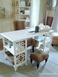 I betcha you could make this desk with a couple of old shelving units that you have  sitting in the store room collecting dust, or mabey two change tables. Add an old door or something else you have lying around, pour on some paint and woila.......D.