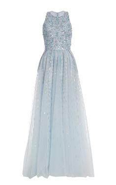 Iridescent Blue Embroidered Tulle Gown by Monique Lhuillier for Preorder on Moda Operandi
