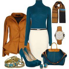 16 Elegant Polyvore Combinations - forest green and camel orange