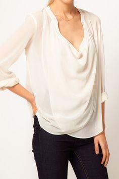 white sheer blouse + dark denim.