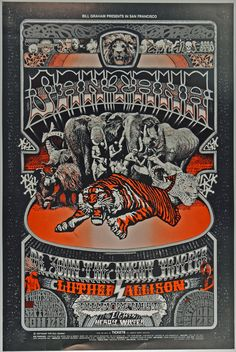 Original Vintage Bill Graham BG # Poster by Norman Orr for Santana, Dr. John The Night Tripper, Luther Allison at Fillmore West Tour Posters, Band Posters, Music Posters, Vintage Concert Posters, Vintage Posters, Wes Wilson, Fillmore West, Psychedelic Rock, Psychedelic Posters