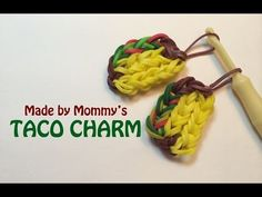 Rainbow Loom Taco Charm made using rubber bands, a hook and a loom. The loom is set in the staggered layout -- so you can use a Rainbow Loom, CraZLoom, Wonde. Rainbow Loom Easy, Rainbow Loom Tutorials, Rainbow Loom Patterns, Rainbow Loom Creations, Rainbow Loom Bands, Rainbow Loom Charms, Rainbow Loom Bracelets, Rubber Band Charms, Rubber Band Bracelet