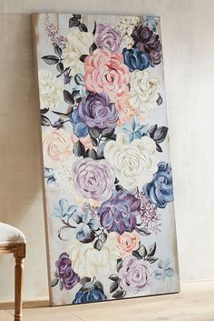 A dreamy take on still-life blooms captured at the height of their beauty, this hand-painted floral artwork from Pier 1 brings the best of garden blossoms to life. Hang in an entryway, living room or anywhere you want a picturesque focal point. by angie Floral Artwork, Art Floral, Floral Paintings, Colorful Artwork, Creative Artwork, Painting Flowers, Arte Fashion, Painting Inspiration, Diy Art