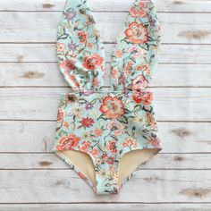 ❤ High Waisted One Piece Swimsuit - Handmade in a Vintage Inspired Design - This is Such a Figure Flattering Swimming Costume! ❤  ❤ In Stunning Pale Aqua / Mint Floral Print Which has an almost tapestry effect to it! ❤  This swimsuit is everything that swimwear should be... cute, fun & gorgeous, yet at the same time jawdroppingly sexy and most importantly unique & edgy - if you are looking for swimwear that portrays who you are then look no further..... this is it!!!  I came up w...