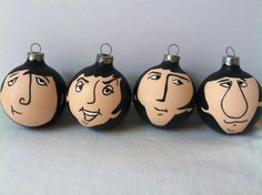 The Beatles hand painted ornament set of Fab Four. $40.00, by GingerPots on Etsy.