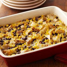 Chicken-Black Bean Casserole Preheat oven to 350 degrees F. In casserole dish combine corn, beans, salsa, cumin, and coriander. Stir in Grilled & Ready® Fajita Chicken Strips and 1 cup of the cheese. Grilled Chicken Strips, Chicken Strip Recipes, Recipe Chicken, Shredded Chicken, Great Recipes, Dinner Recipes, Favorite Recipes, Dinner Ideas, Entree Recipes