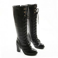 Trendy Lace-Up and Rivets Design Knee-High Boots For Women, BLACK, 39 in Boots | DressLily.com