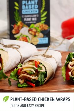 The ultimate plant-based chicken wrap recipe is here! Its fresh, healthy, delicious and it will satisfy those hunger cr Tasty Vegetarian Recipes, Vegan Dinner Recipes, Vegan Dinners, Veggie Recipes, Whole Food Recipes, Cooking Recipes, Healthy Recipes, Vegetarian Burrito, Healthy Meals