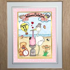 'Bundle of Joy' personalised framed toon.  With all the special details from the new arrivals birth BoogiecatDesigns.com will create a bespoke gift for a new baby! #newbaby #babygift ---- #babygiftideas #gifts #giftideas #aunty #uncle #auntie #bundleofjoy #gift #present #babypresent #newborn #newbornbaby #newarrival #babies #pregnant #preggers #newmum #newmom #newmother