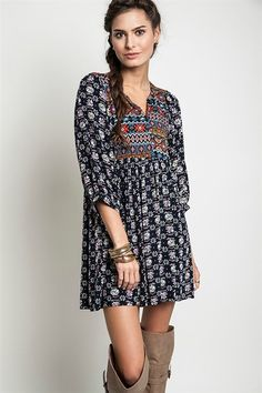 Lavish Boutique - Boho Beauty Dress: Navy, $38.00 (http://lavishboutique.com/boho-beauty-dress-navy/)