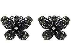 Betsey Johnson Blackout Butterfly Filigree Button Earrings