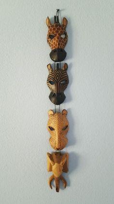 "4 Handcrafted African Animal Face Mask Giraffe  Zebra Leopard Elephant 30"" Kenya"