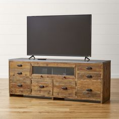 Shop Bluestone Reclaimed Wood Media Console. TV stand's six drawers and two doors open to one fixed and one removable shelf provide for all your media needs.