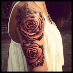 vintage rose shoulder/arm tattoo