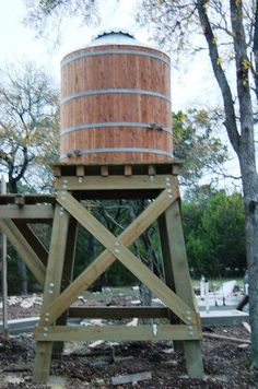Wood Water Storage Tanks with Wood or Steel Tower Water Barrel, Tank Stand, Natural Farming, Water Storage Tanks, Tower Garden, Water Collection, Rainwater Harvesting, Water Tower, Water Systems