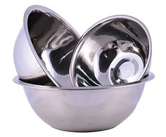 Stainless Steel Cuissentials Set of 3 Kitchen Mixing Bowls High Quality Fine Dining Mirror Finish Flat Base Curved Lips Prep Bowls Size 1 Qt 2 Qt 5 Qt * Learn more by visiting the image link.(This is an Amazon affiliate link and I receive a commission for the sales)