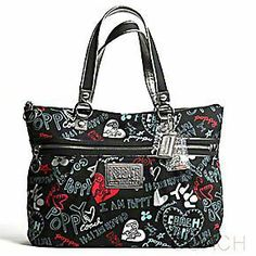 Fun Poppy graffiti lettering in blue, red and silver really pop against the black of this canvas Coach Graffiti Glam Bag. Discount Coach Bags, Coach Handbags Outlet, Coach Outlet, Black Coach Purses, Look Here, Coach Poppy, Shopper Bag, Purses And Bags, Wallets