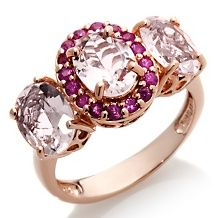 3.28ct Pink Morganite and Pink Sapphire Ring