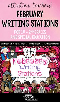 This multi-page February Writing Stations packet is the perfect addition to your Daily 5 stations. The themes included are: Valentines Day, Groundhog's Day, Black History Month with Black History Leaders, Dental Health, and President's Day. Perfect writing station ideas for ESL, homeschool, special education, preschool, kindergarten, first grade, second grade and third grade. Click to download now. #firstgrade #secondgrade #kindergartenteacher #earlylearning #homeschool #specialeducation