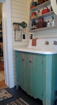 Antique Cast Iron sink on the back porch