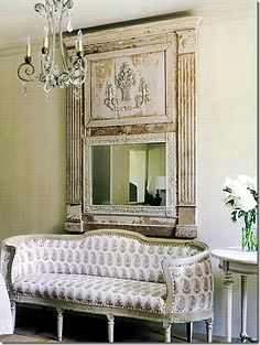 look at that choice of fabric on a French settee, wonderful!