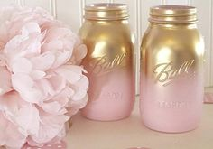 DIY gold and pink mason jars for a shower or baby girl's birthday