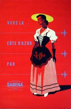 Cotes d'Azur by Sabena, 1960s - original vintage poster listed on AntikBar.co.uk