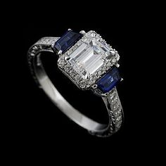 Hand Engraved Diamond Trapezoid Sapphire Vintage Style 14k White Gold Engagement Ring Mounting. $2,399.00, via Etsy.