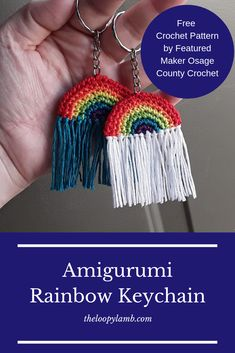 Amigurumi Rainbow Keychain Crochet Pattern by Featured Maker Osage County Croche. - Amigurumi Rainbow Keychain Crochet Pattern by Featured Maker Osage County Crochet - Quick Crochet, Cute Crochet, Single Crochet, Crochet Hooks, Crochet Key Chain, Tricot Simple, Crochet Keychain Pattern, Debbie Macomber, Rainbow Crochet